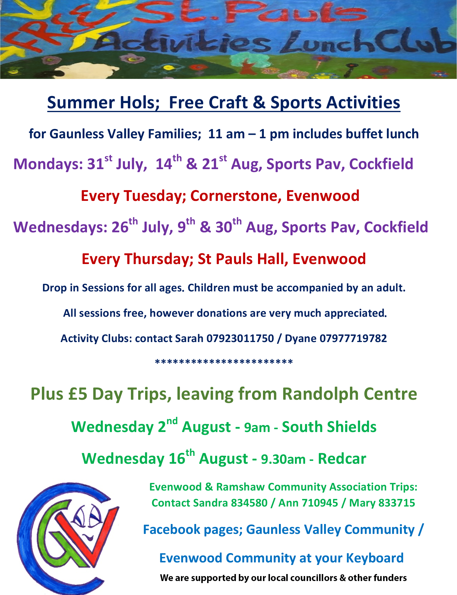Summer Activities for Cockfield and Evenwood